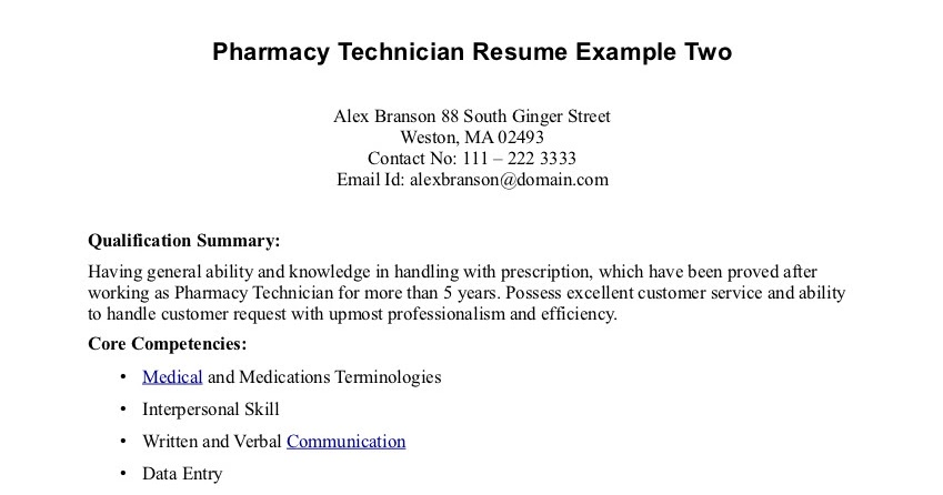 Sample Resumes  Pharmacy Tech Resume Samples
