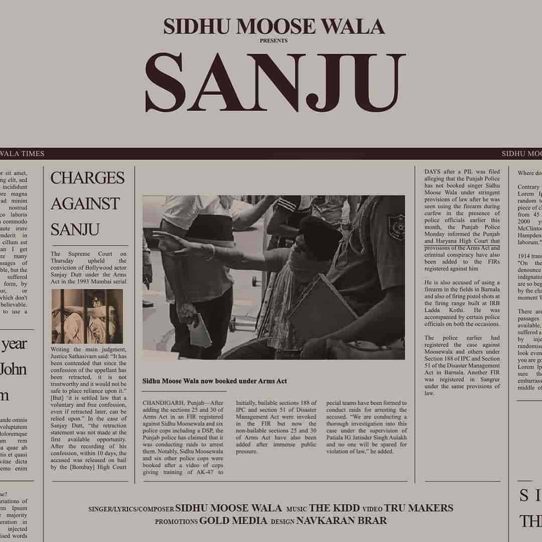 Sanju Punjabi Song Image By Sidhu Moose Wala