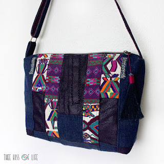 Upcycled Denim Leather Colorful Vintage Embroidery Crossbody Bag Handmade Zippered Purse with Tassel