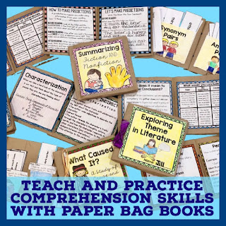 These paper bag books are great for introducing, practicing, and reviewing all sorts of reading skills. Use them in small group, in literacy stations, for test prep, or RTI lessons. Check out this post to learn more.