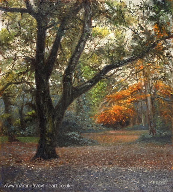 M P Davey oil painting of trees in fall