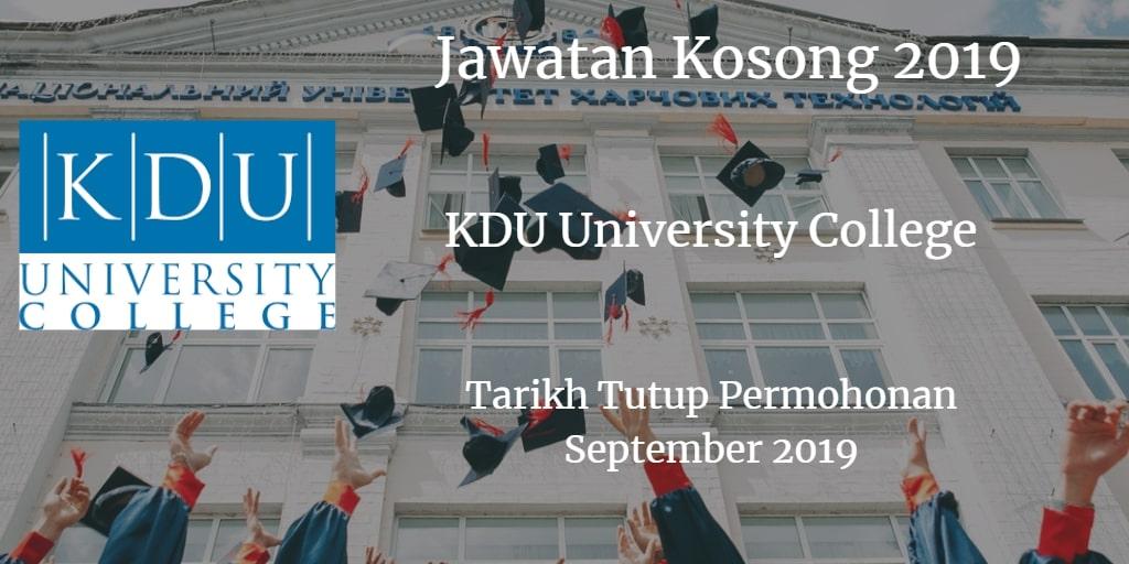 Jawatan Kosong KDU University College September 2019