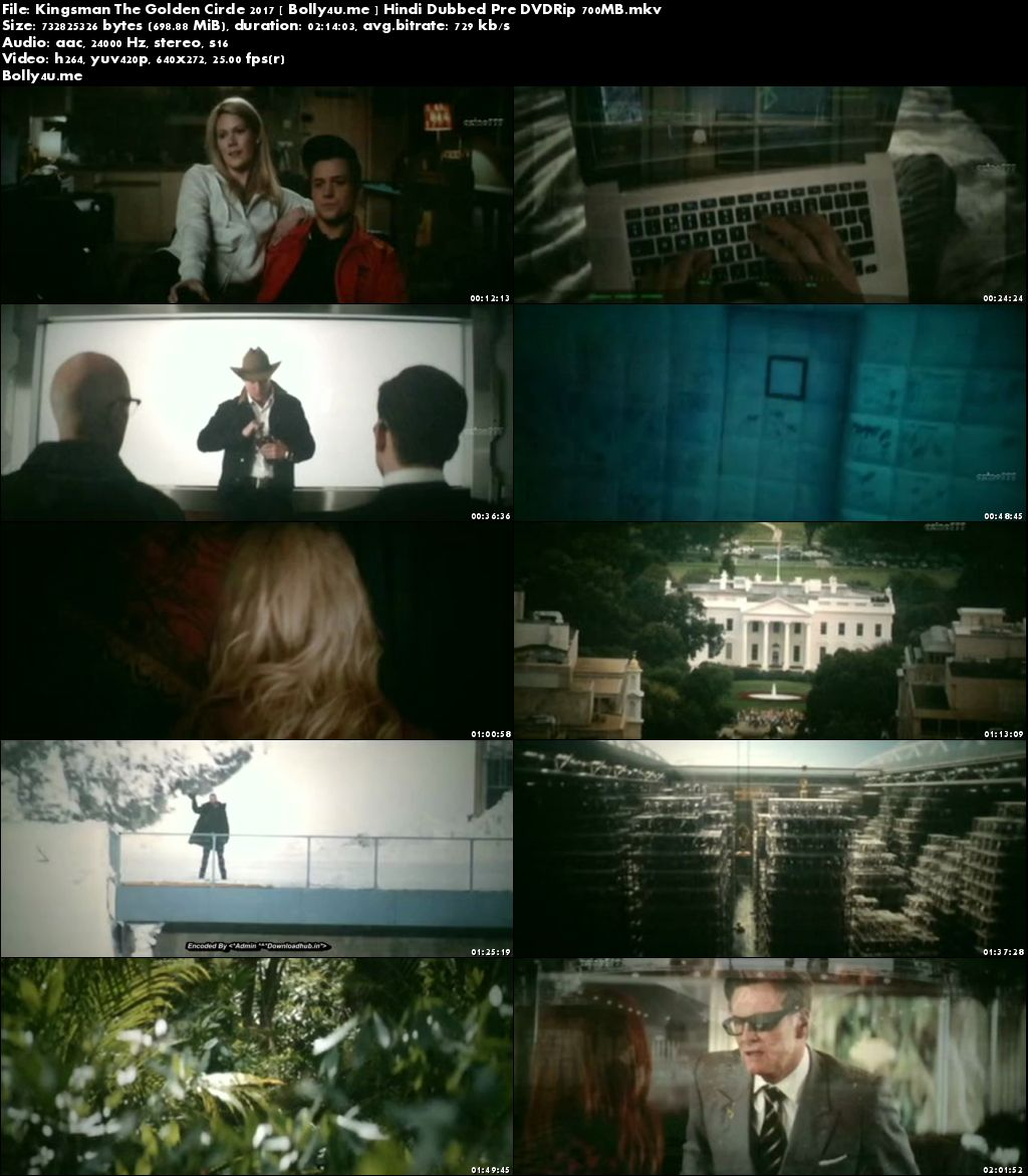 Kingsman The Golden Circle 2017 Pre DVDRip 700MB Hindi Dubbed x264 Download