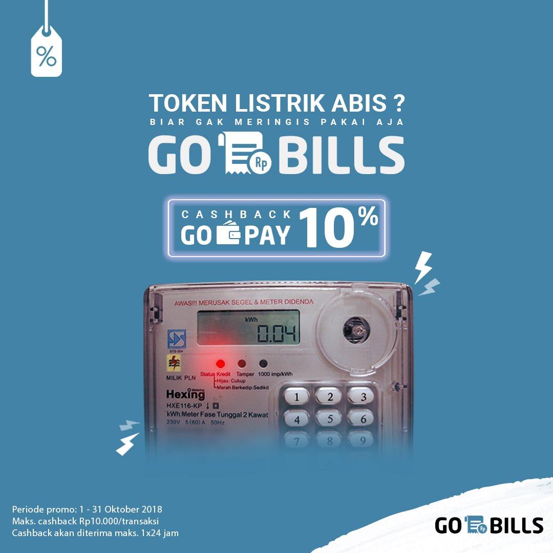 Gojek - Promo Cashback 10% Beli Token Listrik Pakai GOPAY (s.d 31 Okt 2018)
