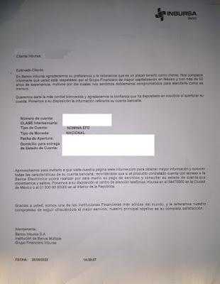 Carta de bienvenida inbursa