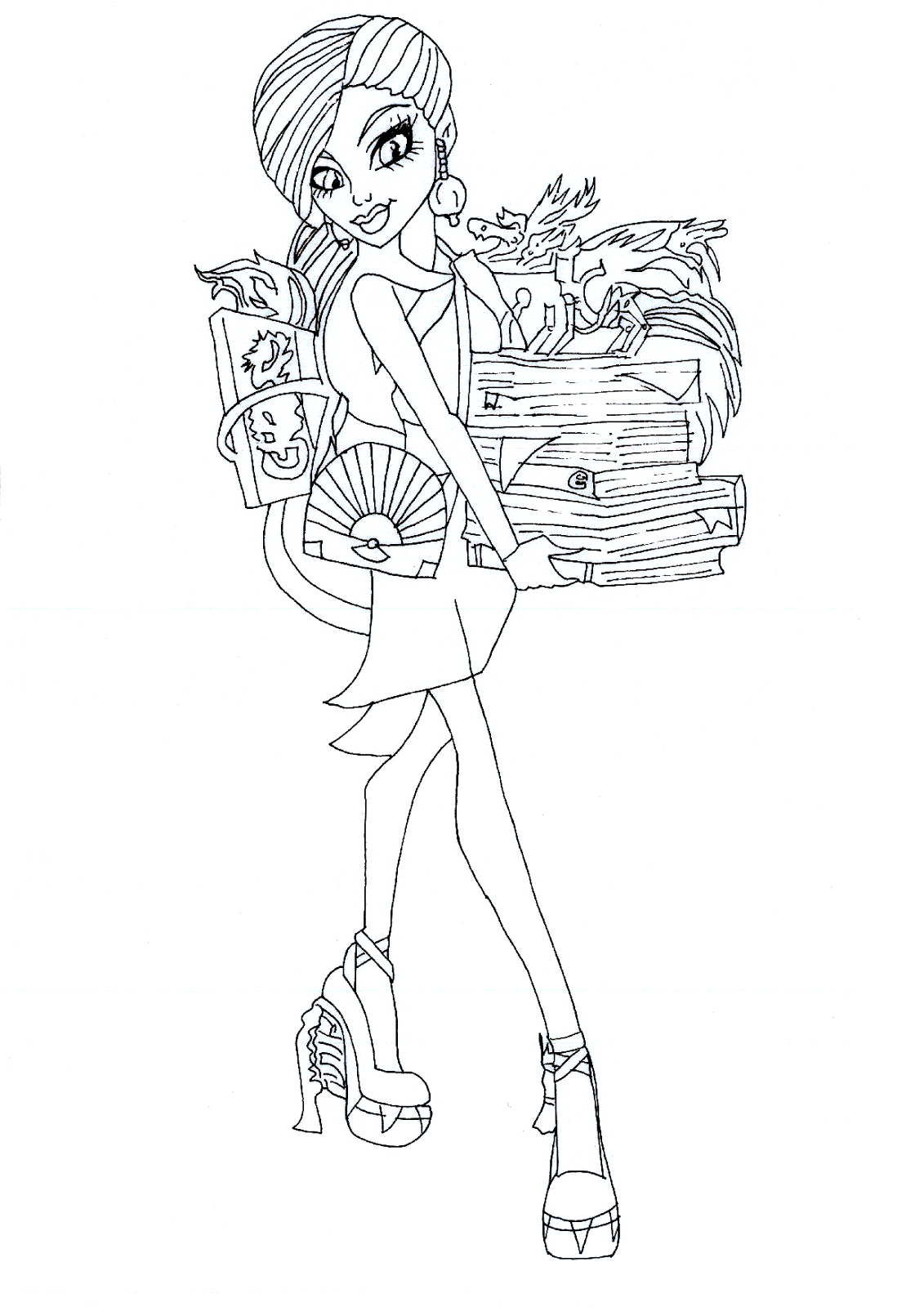 Free Printable Monster High Coloring Pages: Jinafire Long