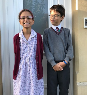 Children on first day of new term