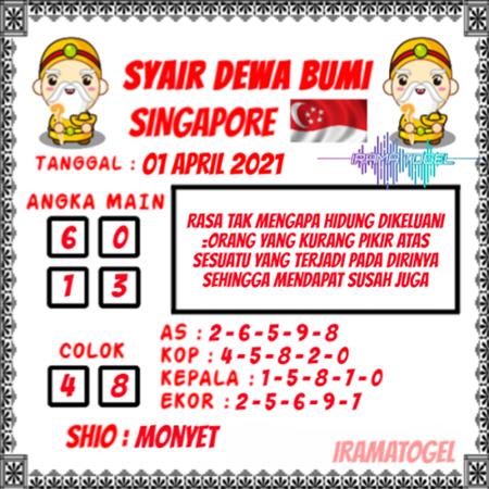 Syair Dewa Bumi SGP Kamis 01-Apr-2021