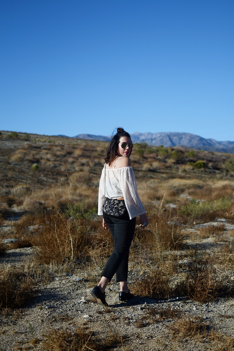 Lace off the shoulder vacation outfit levi's wedgie jeans gucci arabesque bag fashion blogger