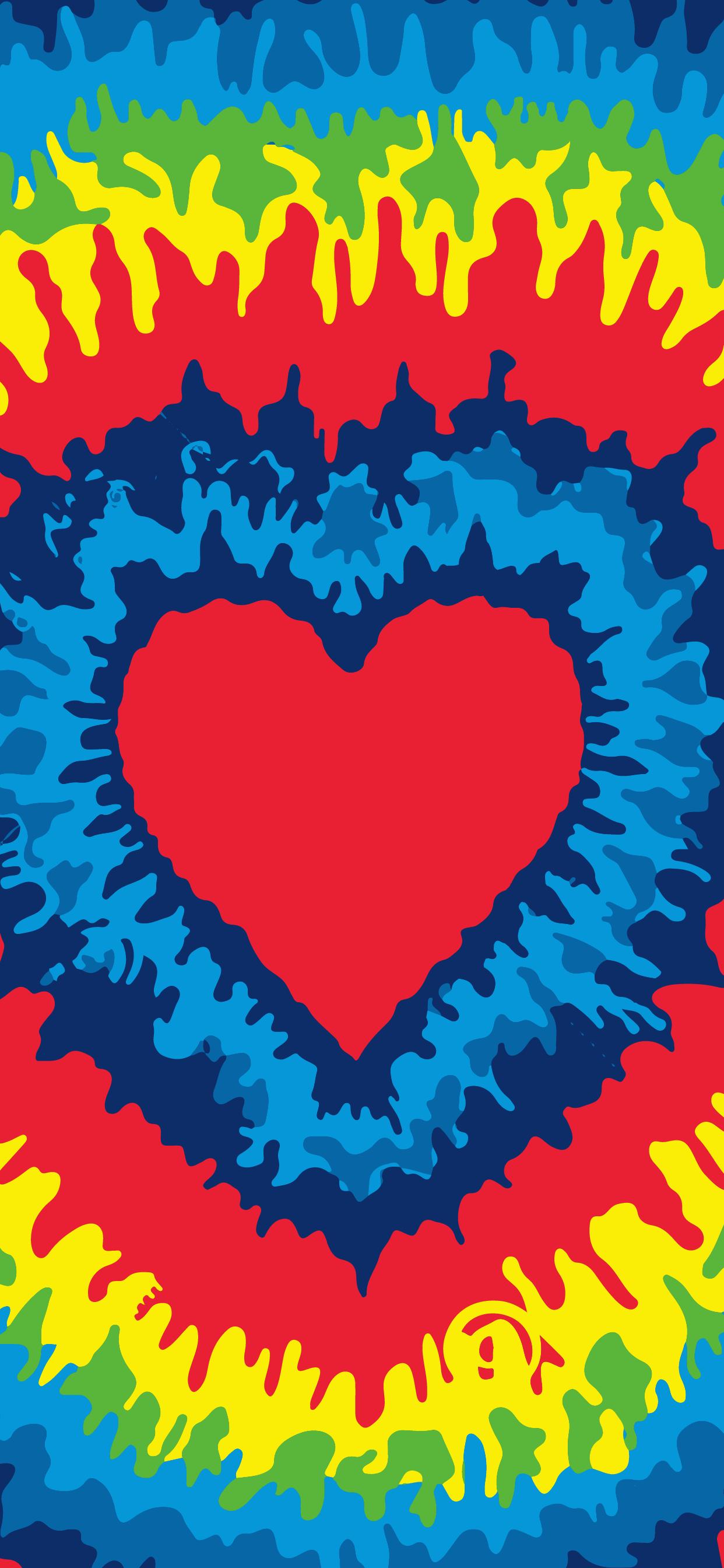 beautiful tie dye heart love wallpaper for mobile phone hd