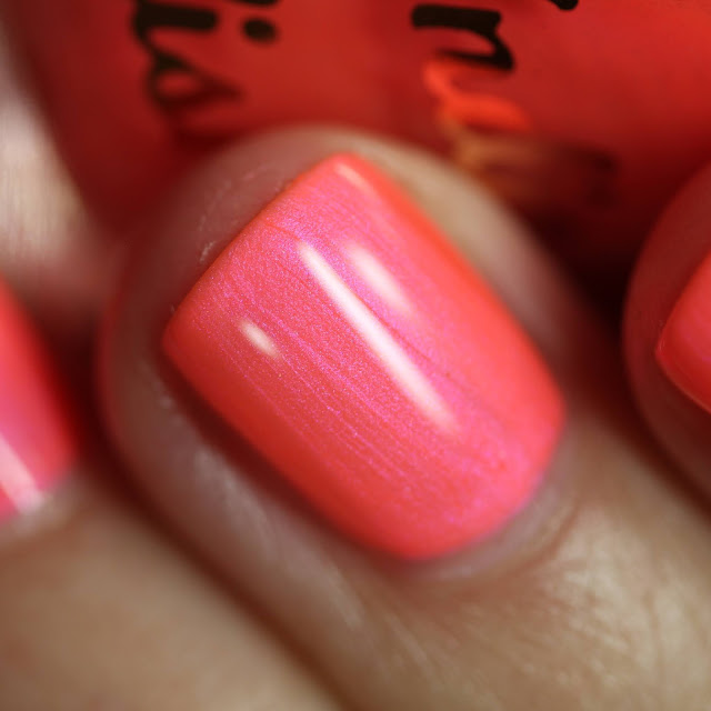 hot pink neon coral nail polish with shimmer