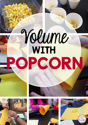STEM Challenge: Volume with popcorn. After reading a book about popcorn students are challenged with building a container to hold a specific amount of popcorn! Best of all, they might get to eat some!