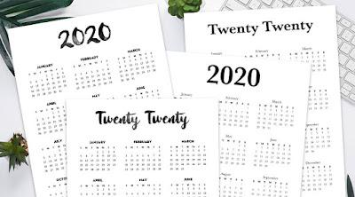 2020 year calendar printable