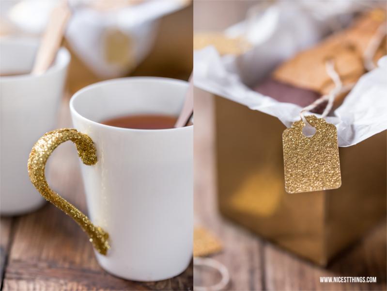 Wichtelgeschenk Glittertasse und Teebeutelkekse