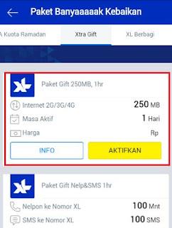 kuota gratis xl 250 mb untuk internet - pilih xtra gift 250 mb