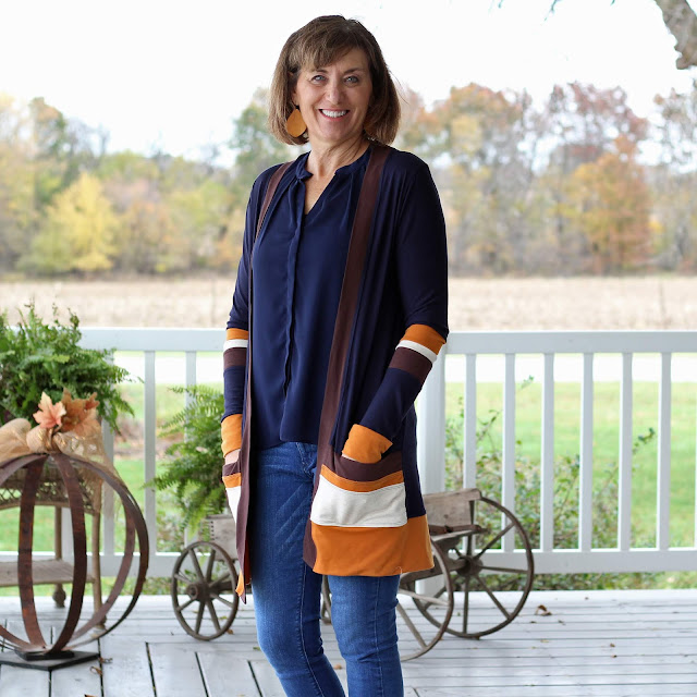 Blackwood Cardigan made from several fabrics for a unique look
