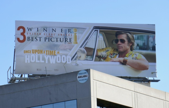 Once Upon a Time in Hollywood 3 Golden Globes billboard