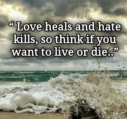 Quotes: LOVE heals and HATE kills, so think if you want to LIVE or DIE