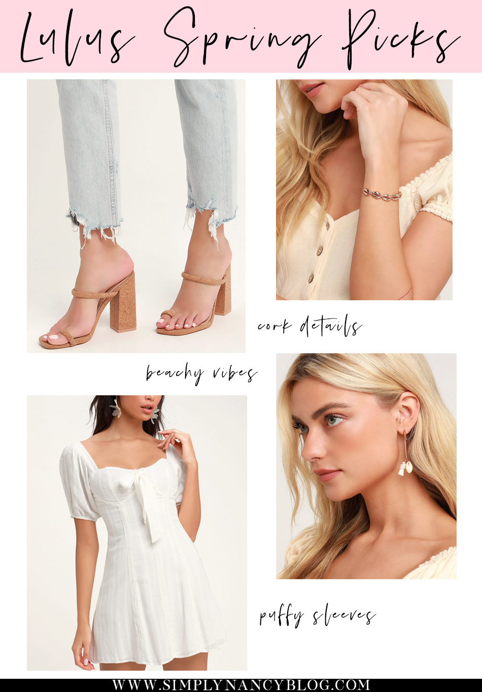 lulus spring picks, seashell jewelry, puffy sleeve dress, cork heel sandals