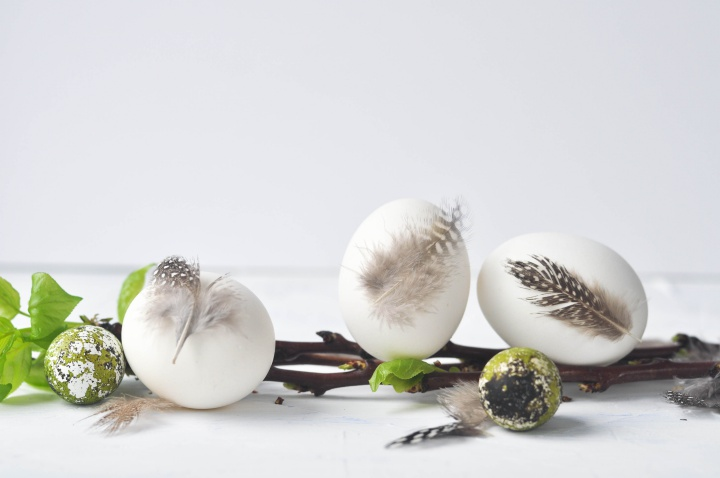 DIY Easter Eggs with natural feathers - easy to be done and perfect for spring