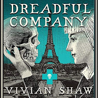 Dreadful Company audiobook cover. A blonde woman holds up a skull. Behind them the Paris skyline is visible on a turquoise backdrop.