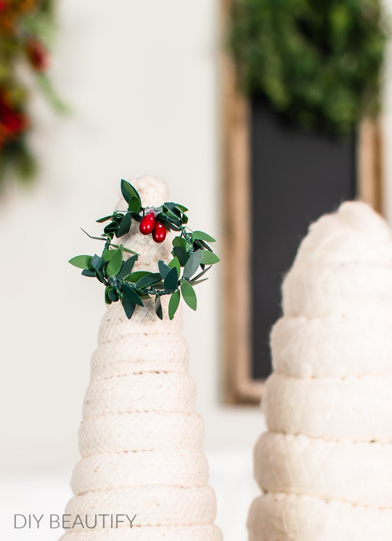 mini wreath with red berries