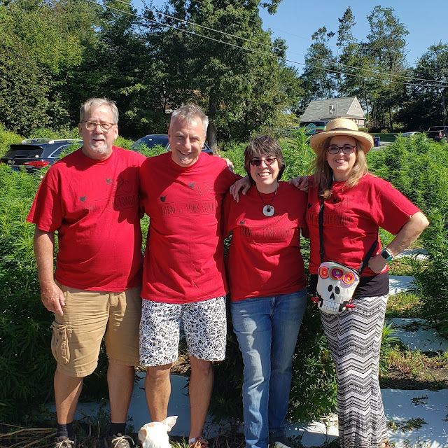 Andy Vernon, Jeff Schaller, Susan O'Hanlon and Merrill Weber volunteering during Farm to Fork Fondo in Lancaster County