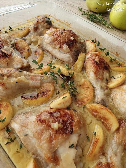 Pollo sl Horno a la Sidra con Manzanas y Bacon (Pollo a la Normanda)
