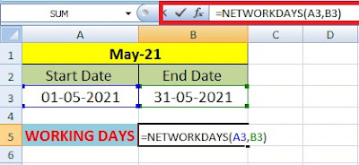 How to Calculate Working Days in a Month on Excel in Hindi