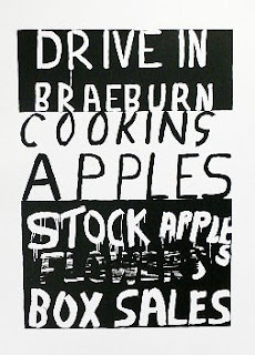 Braeburn - hand lettered graphic style print by Dick Frizzell