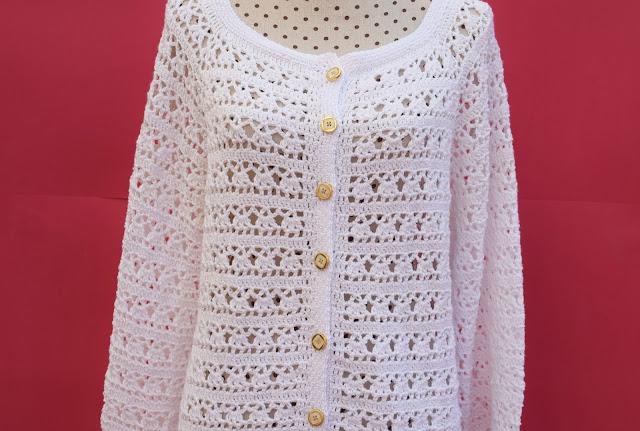 2 - Crochet Imagen Chaqueta blanca a crochet y ganchillo por Majovel Crochet