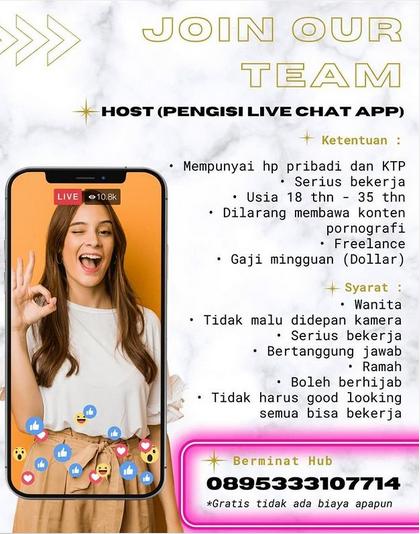 Loker Host Live Chat di Batam Terbaru