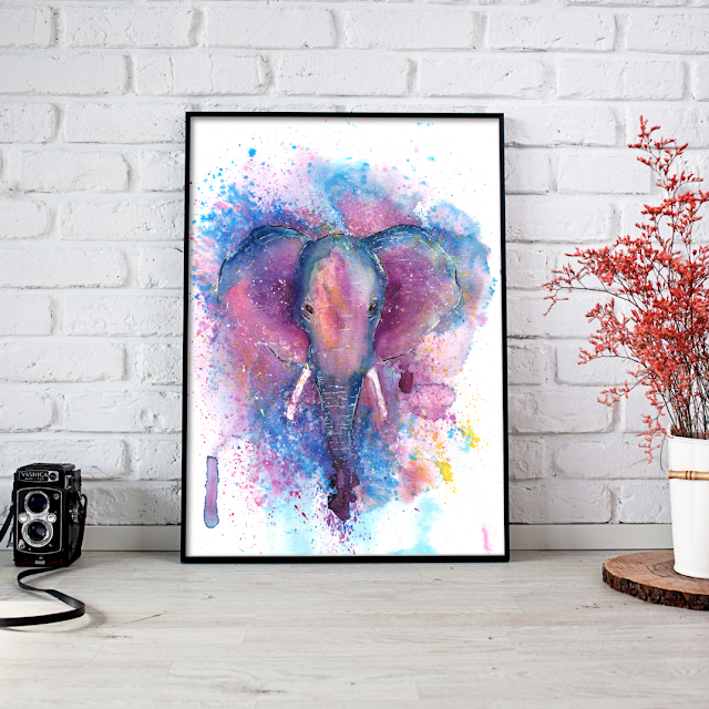 Watercolor Elephant Art Print