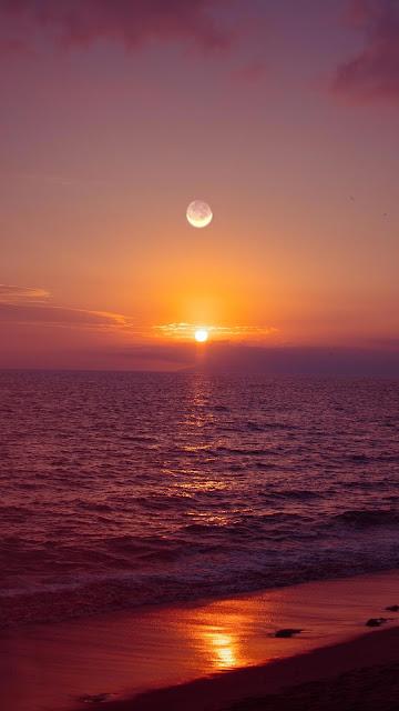 Fantastic wallpaper Sunset Sun and Moon Over Sea