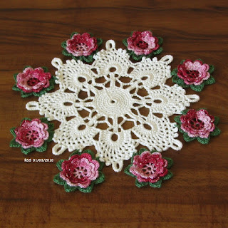 3D Silver Garnet Red Roses on White Cluny Lace Doily - Sold - Handmade by Ruth Sandra Sperling of RSS Designs In Fiber on Etsy