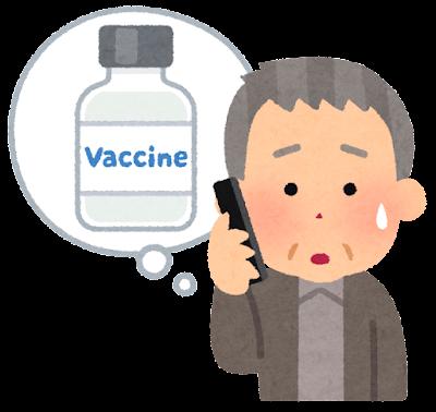 ワクチン接種の予約ができない人のイラスト(電話・おじいさん)