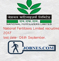 National Fertilizers Limited recruitment  2017  for 34 various posts  apply online here