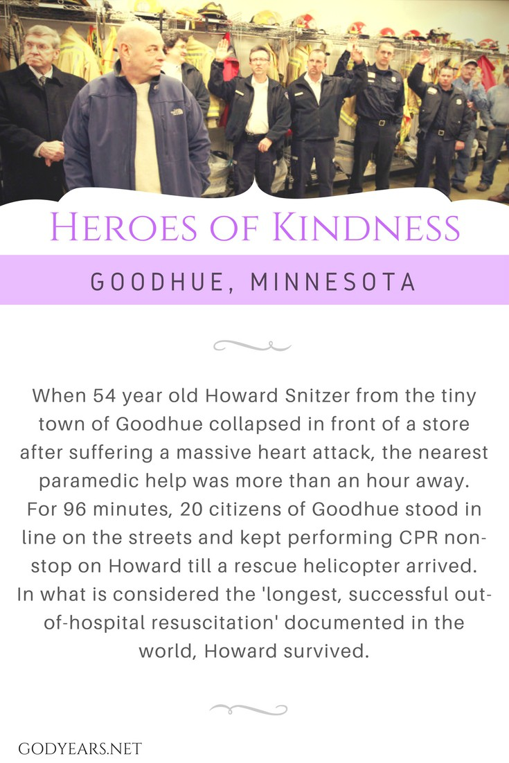 When 54 year old Howard Snitzer from the tiny town of Goodhue collapsed in front of store after suffering a massive heart attack, the nearest paramedic help was more than an hour away. For 96 minutes, 20 citizens of Goodhue stood in line on the streets and kept performing CPR non-stop on Howard till a rescue helicopter arrived. In what is considered the 'longest, successful out-of-hospital resuscitation' documented in the world, Howard survived.