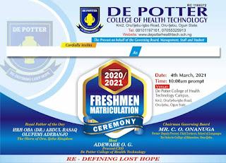 De Potter College of Health Tech Matriculation Ceremony Date 2020/2021