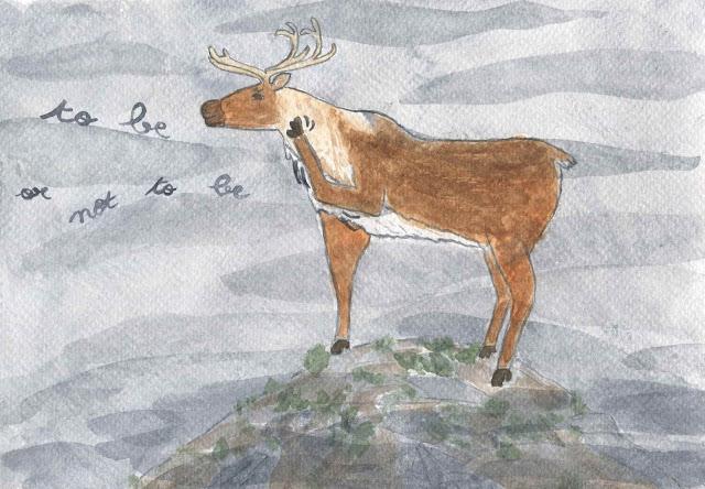 Un renne du Père Noël un peu perdu dans ses pensées