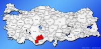 Karaman ilinin Türkiye haritasında gösterimi