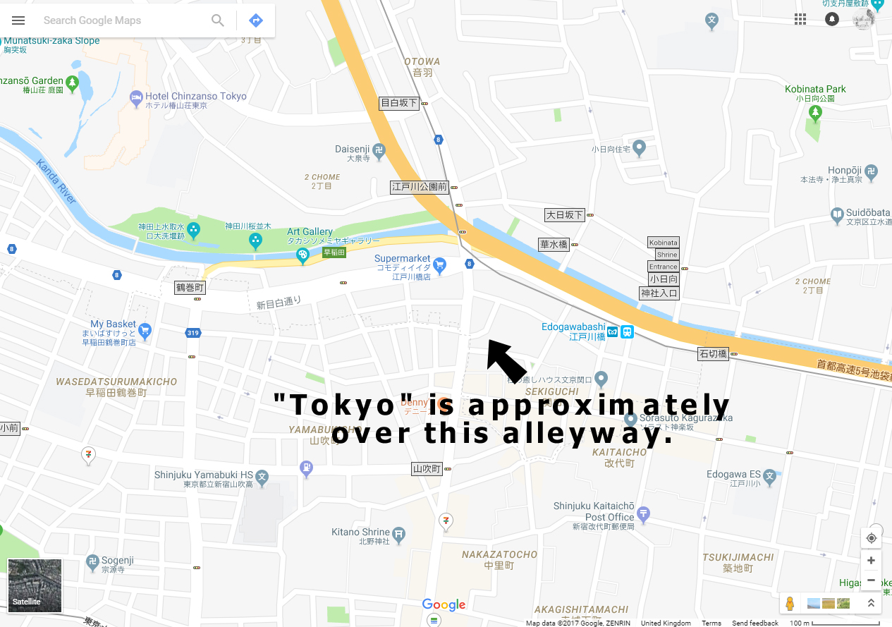 i checked around to see where other online maps had positioned their tokyo labels