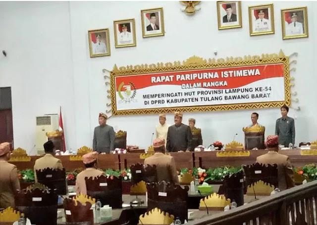 DPRD Tubaba Gelar Paripurna Memperingati HUT Provinsi Lampung Yang Ke-54