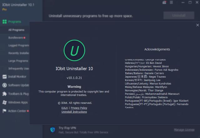 برنامج IObit Uninstaller Pro10.1.0.21  لمسح البرامج من جذورها