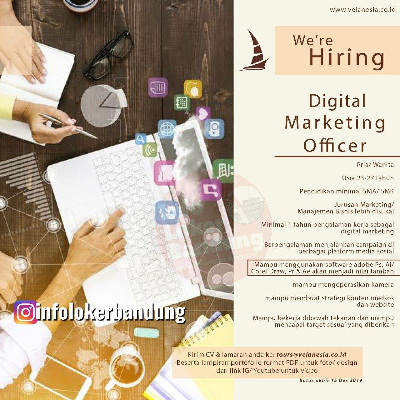 Lowongan Kerja Digital Marketing Officer Velanesia Bandung November 2019