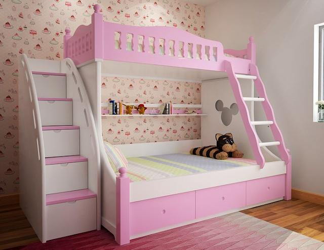 giường tầng màu hồng