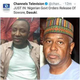 Breaking News!!! Federal Government Of Nigerian Orders The Release Of #Sowore & #Dasuki!!!