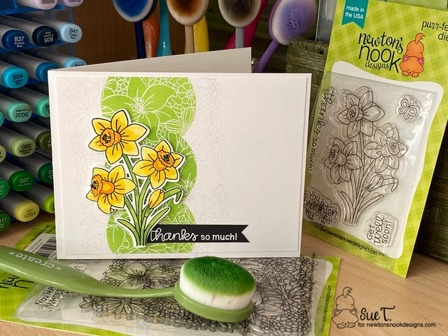 Thanks so much by Sue T. features Blooming Botanicals,  Daffodils, and Slimline Masking Circles and Squares by Newton's Nook Designs; #inkypaws, #newtonsnook, #cardmaking, #springcard