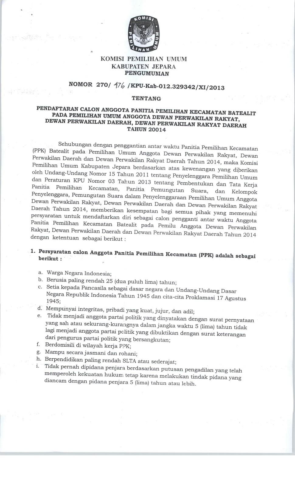 Proses PAW , KPU Buka Pendaftaran PPK Batealit.