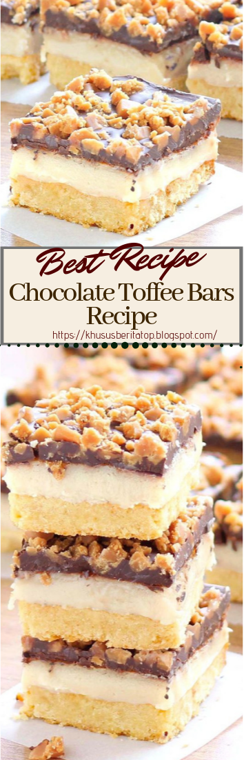 Chocolate Toffee Bars Recipe #desserts #cakerecipe #chocolate #fingerfood #easy